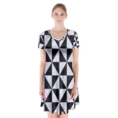 TRI1 BK-WH MARBLE Short Sleeve V-neck Flare Dress