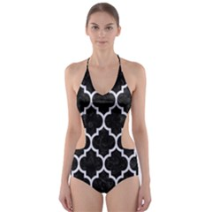 TIL1 BK-WH MARBLE Cut-Out One Piece Swimsuit