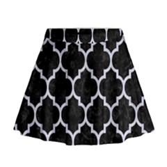 TIL1 BK-WH MARBLE Mini Flare Skirt