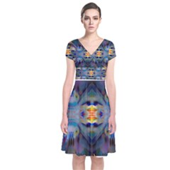 Enter The Spirit Of the Divine knowing Short Sleeve Front Wrap Dress