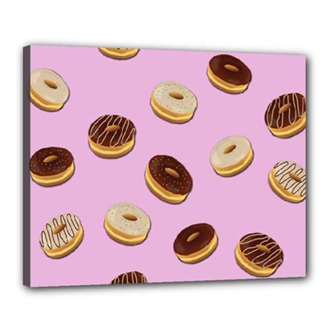 Donuts pattern - pink Canvas 20  x 16