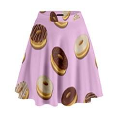 Donuts pattern - pink High Waist Skirt