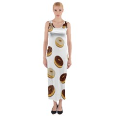 Donuts pattern Fitted Maxi Dress