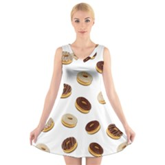Donuts pattern V-Neck Sleeveless Skater Dress