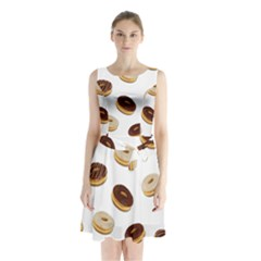 Donuts pattern Sleeveless Chiffon Waist Tie Dress