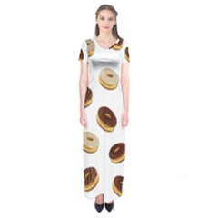Donuts pattern Short Sleeve Maxi Dress