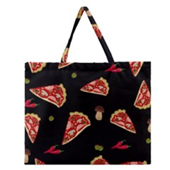 Pizza slice patter Zipper Large Tote Bag