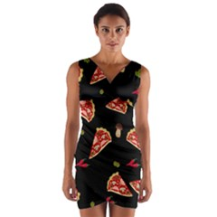 Pizza slice patter Wrap Front Bodycon Dress