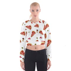 Pizza pattern Women s Cropped Sweatshirt