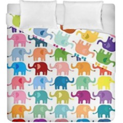 Cute Colorful Elephants Duvet Cover Double Side (king Size)