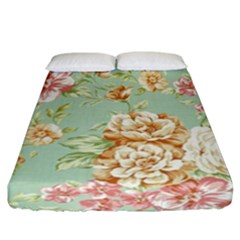 Vintage Pastel Flower Fitted Sheet (california King Size)