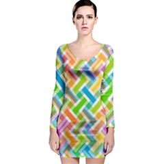 Abstract Pattern Colorful Wallpaper Long Sleeve Bodycon Dress