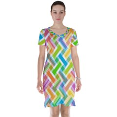 Abstract Pattern Colorful Wallpaper Short Sleeve Nightdress