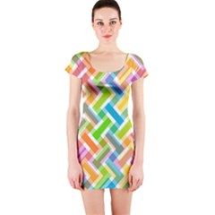 Abstract Pattern Colorful Wallpaper Short Sleeve Bodycon Dress
