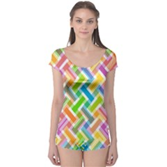 Abstract Pattern Colorful Wallpaper Boyleg Leotard