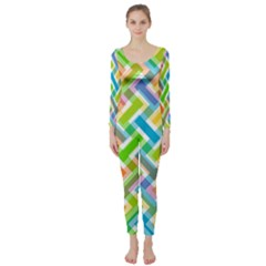 Abstract Pattern Colorful Wallpaper Long Sleeve Catsuit