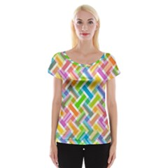 Abstract Pattern Colorful Wallpaper Women s Cap Sleeve Top