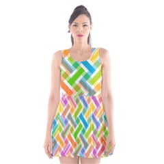 Abstract Pattern Colorful Wallpaper Scoop Neck Skater Dress