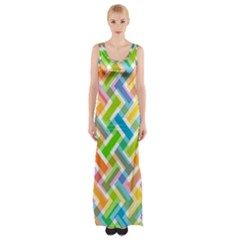 Abstract Pattern Colorful Wallpaper Maxi Thigh Split Dress