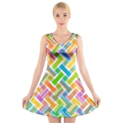 Abstract Pattern Colorful Wallpaper V-Neck Sleeveless Skater Dress