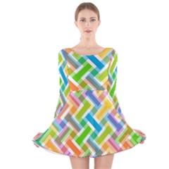 Abstract Pattern Colorful Wallpaper Long Sleeve Velvet Skater Dress