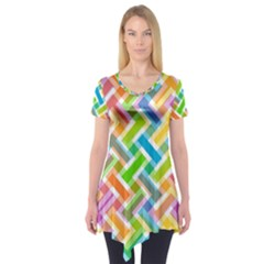 Abstract Pattern Colorful Wallpaper Short Sleeve Tunic