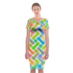 Abstract Pattern Colorful Wallpaper Classic Short Sleeve Midi Dress