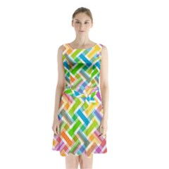 Abstract Pattern Colorful Wallpaper Sleeveless Chiffon Waist Tie Dress