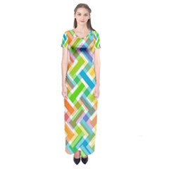 Abstract Pattern Colorful Wallpaper Short Sleeve Maxi Dress