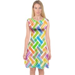 Abstract Pattern Colorful Wallpaper Capsleeve Midi Dress