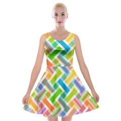 Abstract Pattern Colorful Wallpaper Velvet Skater Dress