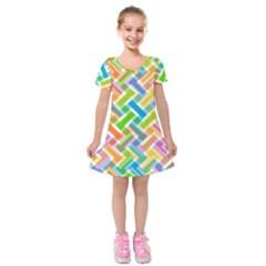 Abstract Pattern Colorful Wallpaper Kids  Short Sleeve Velvet Dress