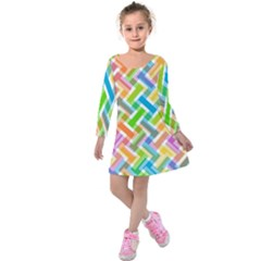 Abstract Pattern Colorful Wallpaper Kids  Long Sleeve Velvet Dress
