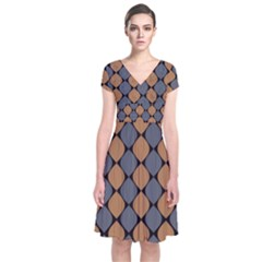 Abstract Seamless Pattern Short Sleeve Front Wrap Dress