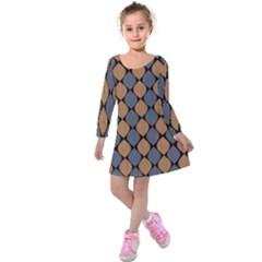 Abstract Seamless Pattern Kids  Long Sleeve Velvet Dress