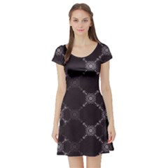 Abstract Seamless Pattern Short Sleeve Skater Dress