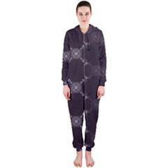 Abstract Seamless Pattern Hooded Jumpsuit (ladies)