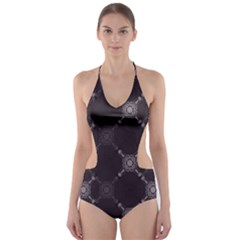 Abstract Seamless Pattern Cut-Out One Piece Swimsuit