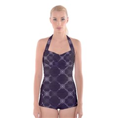 Abstract Seamless Pattern Boyleg Halter Swimsuit
