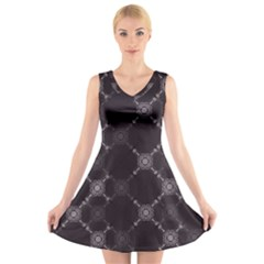 Abstract Seamless Pattern V Neck Sleeveless Skater Dress