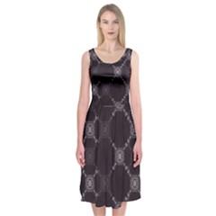 Abstract Seamless Pattern Midi Sleeveless Dress