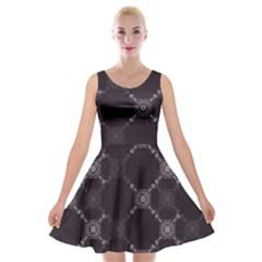 Abstract Seamless Pattern Velvet Skater Dress
