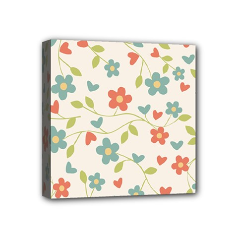 Abstract Vintage Flower Floral Pattern Mini Canvas 4  X 4