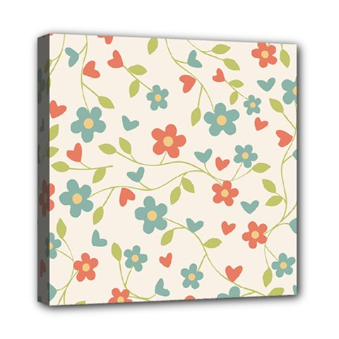 Abstract Vintage Flower Floral Pattern Mini Canvas 8  X 8