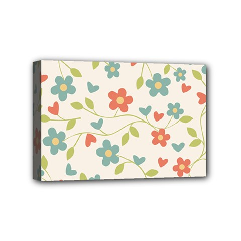 Abstract Vintage Flower Floral Pattern Mini Canvas 6  X 4