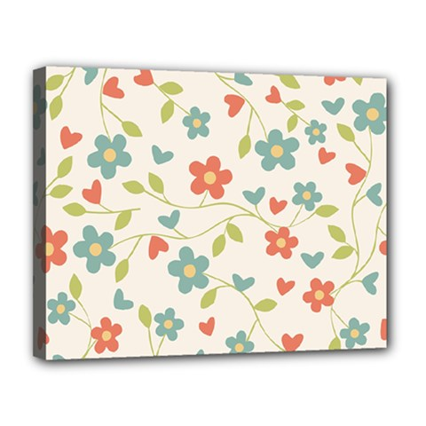 Abstract Vintage Flower Floral Pattern Canvas 14  X 11