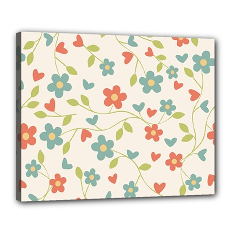 Abstract Vintage Flower Floral Pattern Canvas 20  X 16