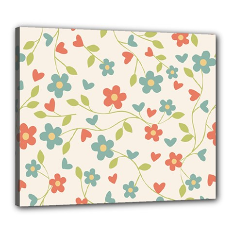 Abstract Vintage Flower Floral Pattern Canvas 24  X 20
