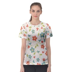 Abstract Vintage Flower Floral Pattern Women s Sport Mesh Tee