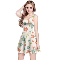 Abstract Vintage Flower Floral Pattern Reversible Sleeveless Dress
